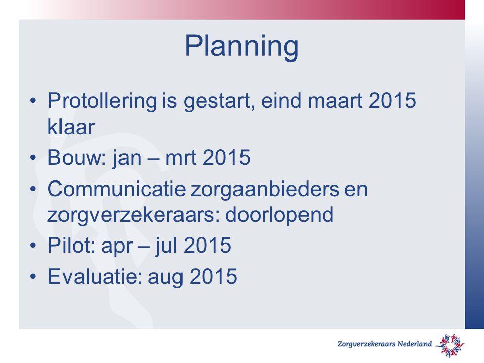 Planning Protollering is gestart, eind maart 2015 klaar