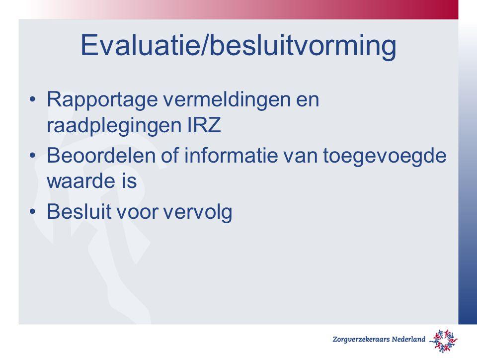 Evaluatie/besluitvorming