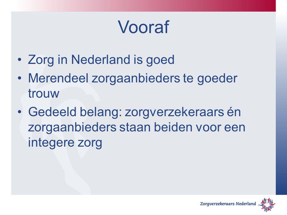 Vooraf Zorg in Nederland is goed