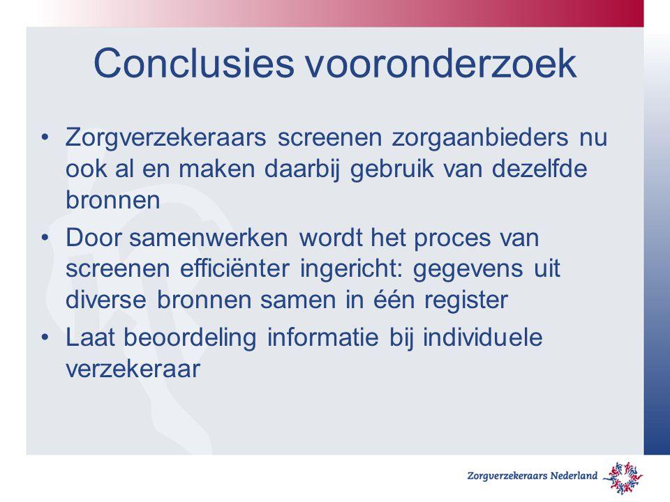 Conclusies vooronderzoek