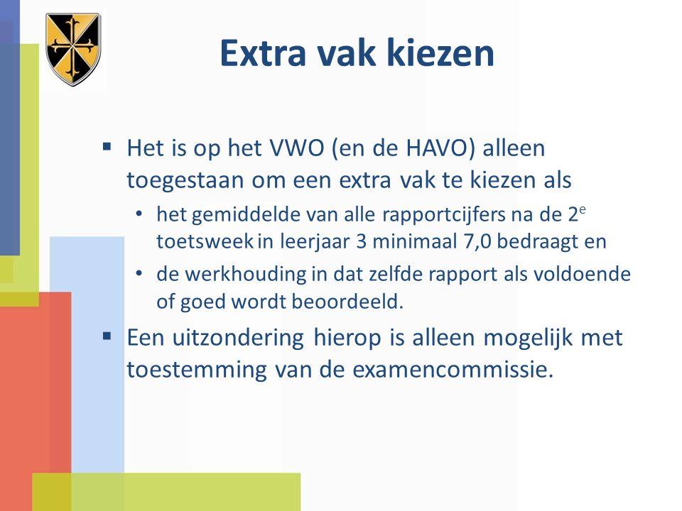 Extra vak kiezen Het is op het VWO (en de HAVO) alleen toegestaan om een extra vak te kiezen als.