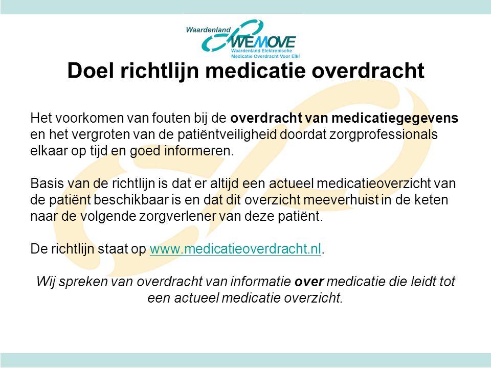 Doel richtlijn medicatie overdracht