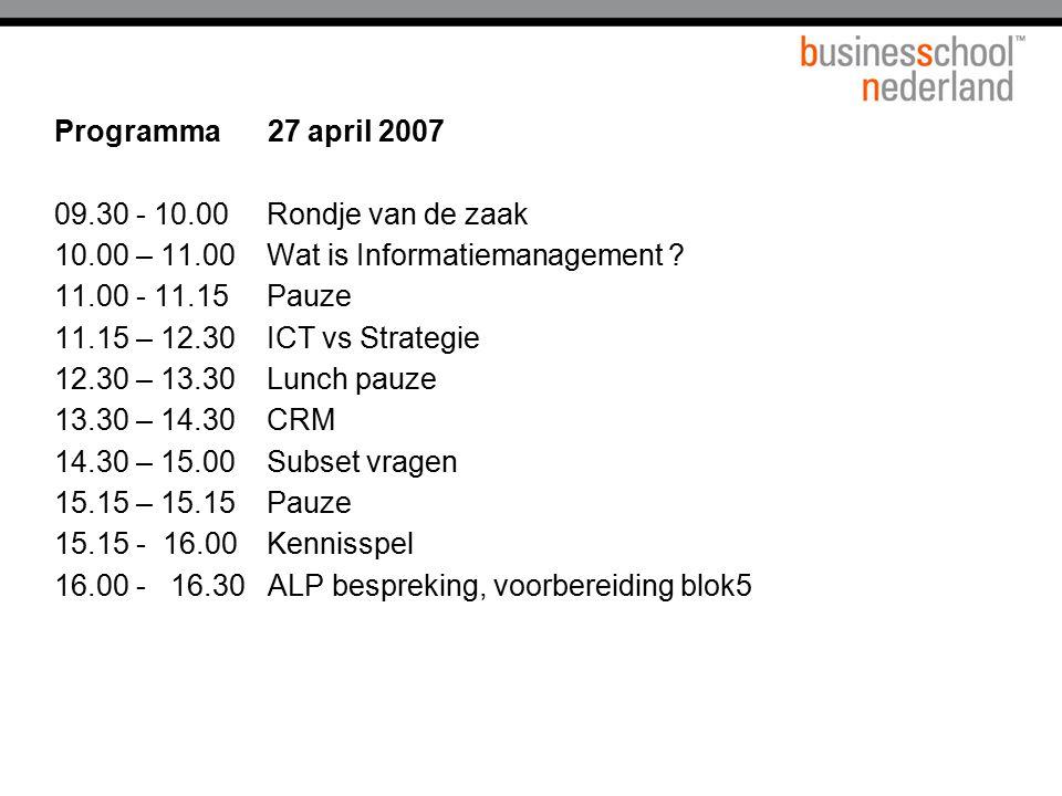 10.00 – 11.00 Wat is Informatiemanagement 11.00 - 11.15 Pauze