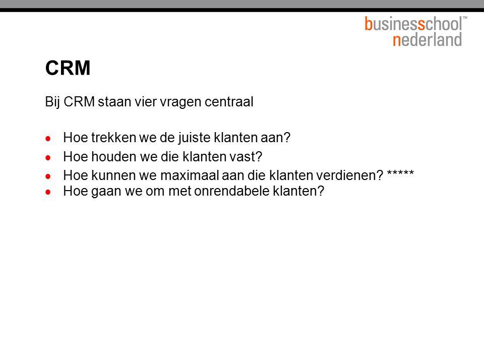 CRM Bij CRM staan vier vragen centraal
