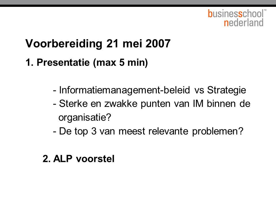 Titel presentatie Voorbereiding 21 mei 2007.