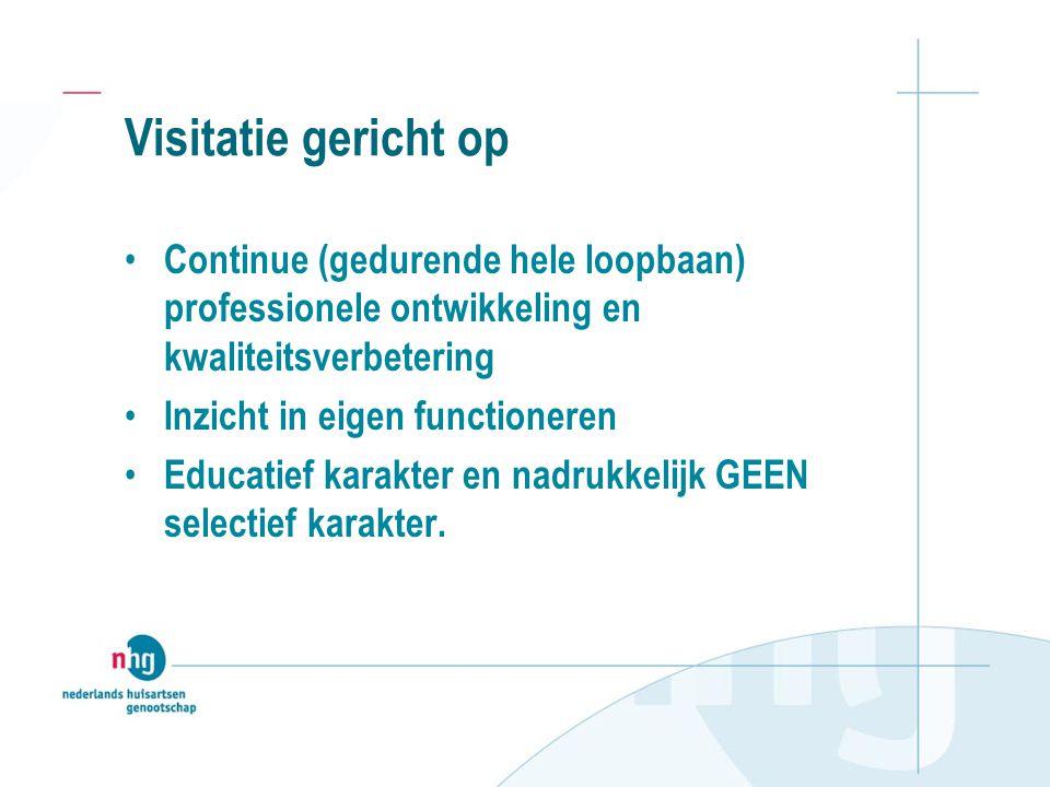 Visitatie gericht op Continue (gedurende hele loopbaan) professionele ontwikkeling en kwaliteitsverbetering.