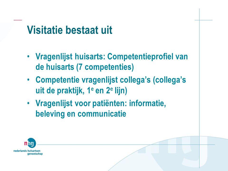 Visitatie bestaat uit Vragenlijst huisarts: Competentieprofiel van de huisarts (7 competenties)