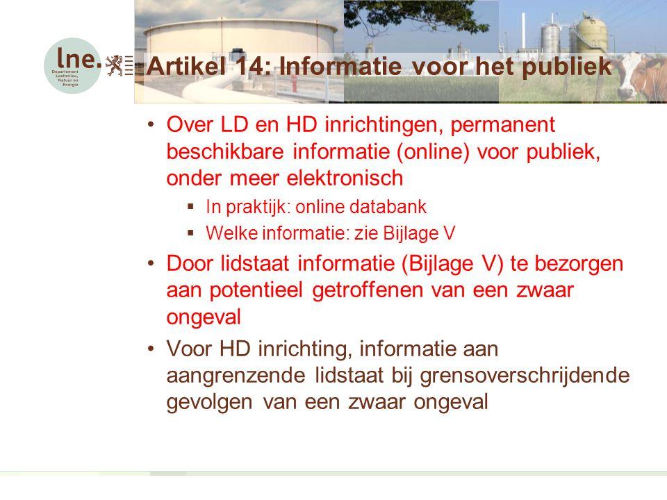 Artikel 14: Informatie voor het publiek