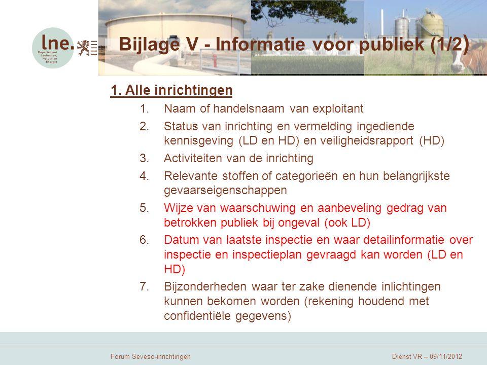 Bijlage V - Informatie voor publiek (1/2)
