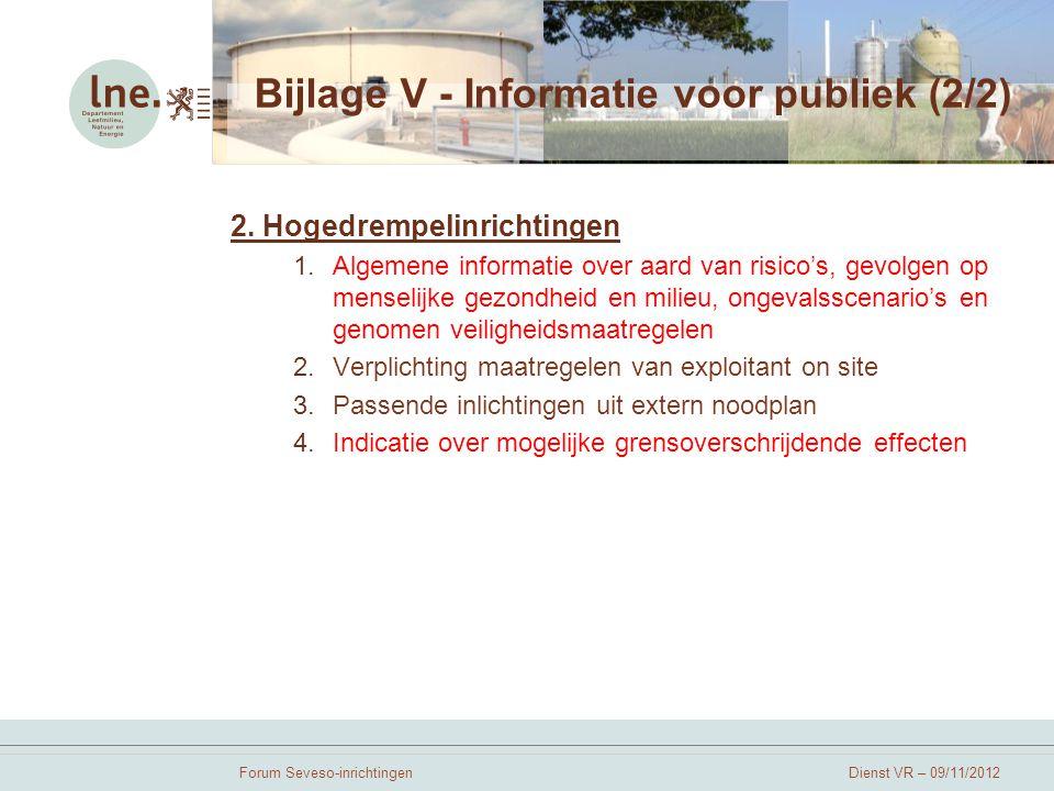 Bijlage V - Informatie voor publiek (2/2)