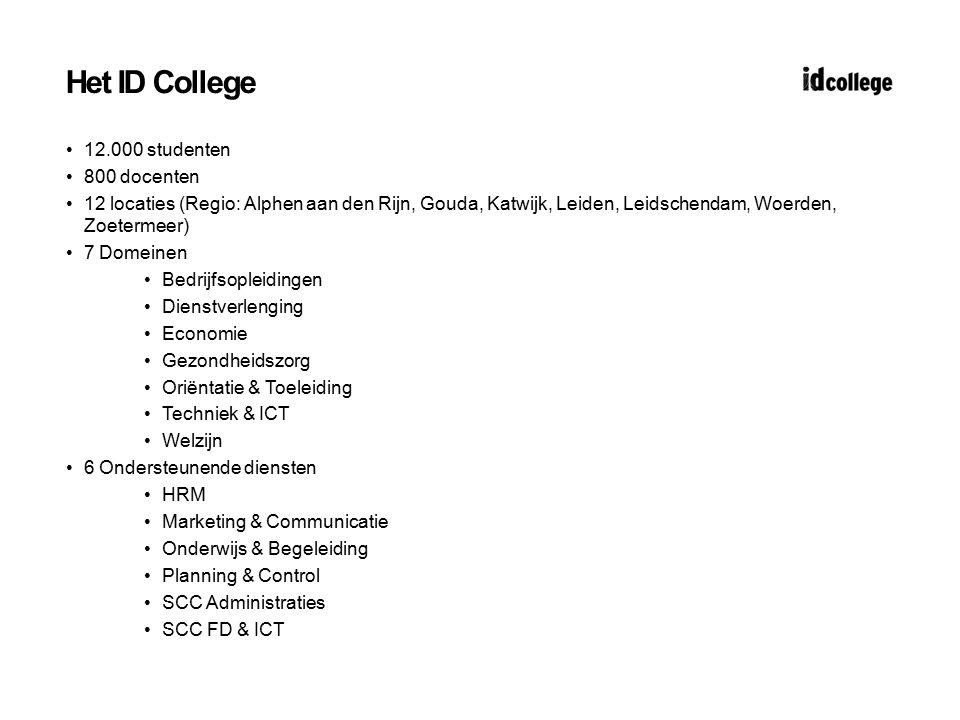 Het ID College 12.000 studenten 800 docenten