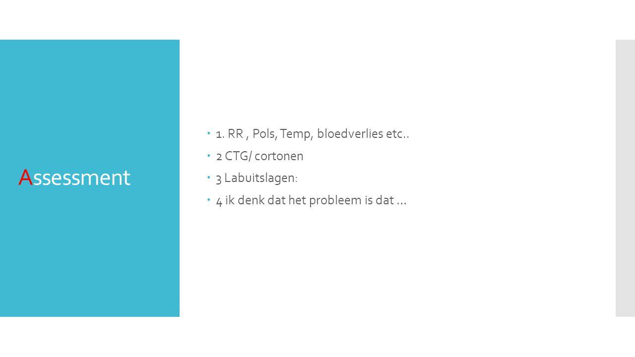 Assessment 1. RR , Pols, Temp, bloedverlies etc.. 2 CTG/ cortonen