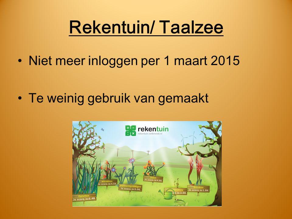 Rekentuin/ Taalzee Niet meer inloggen per 1 maart 2015