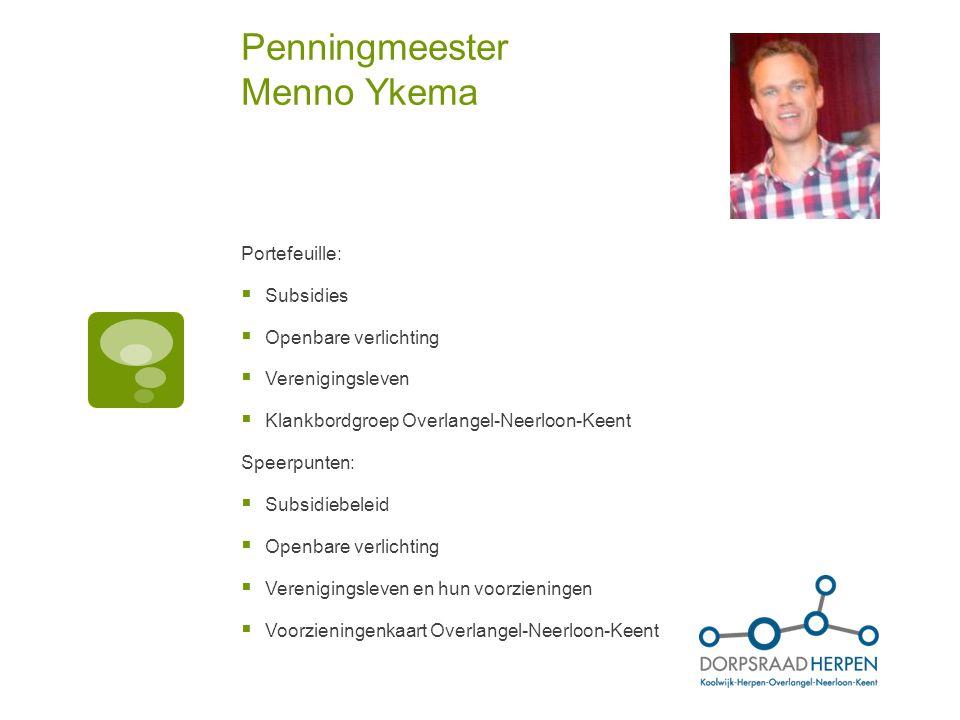 Penningmeester Menno Ykema
