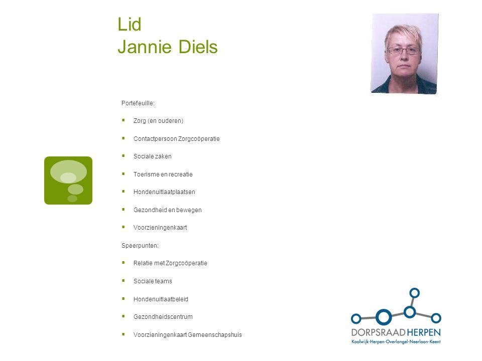 Lid Jannie Diels Portefeuille: Zorg (en ouderen)