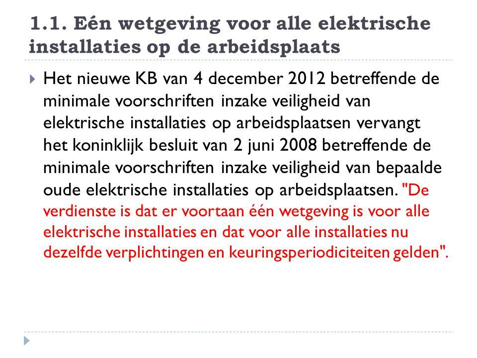 1.1. Eén wetgeving voor alle elektrische installaties op de arbeidsplaats