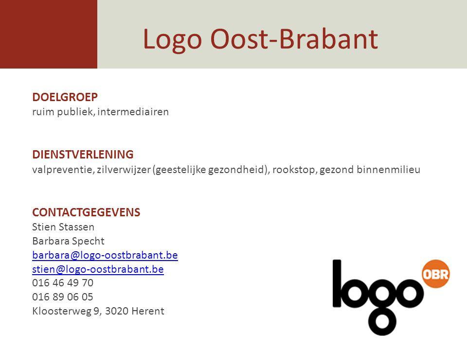 Logo Oost-Brabant DOELGROEP DIENSTVERLENING CONTACTGEGEVENS