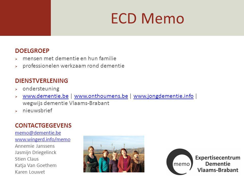 ECD Memo DOELGROEP DIENSTVERLENING CONTACTGEGEVENS