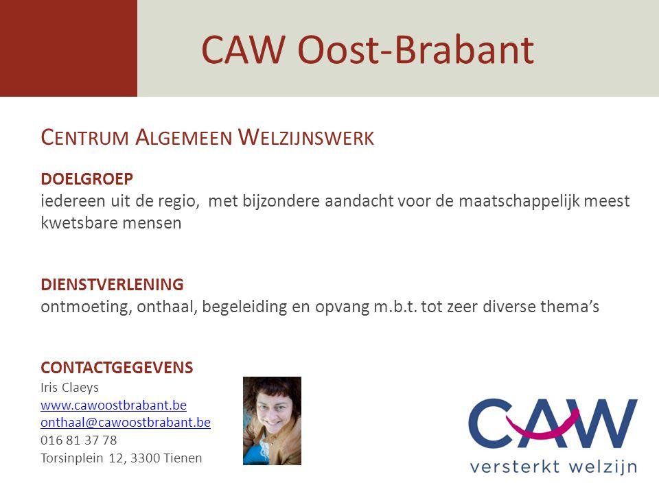 CAW Oost-Brabant Centrum Algemeen Welzijnswerk DOELGROEP