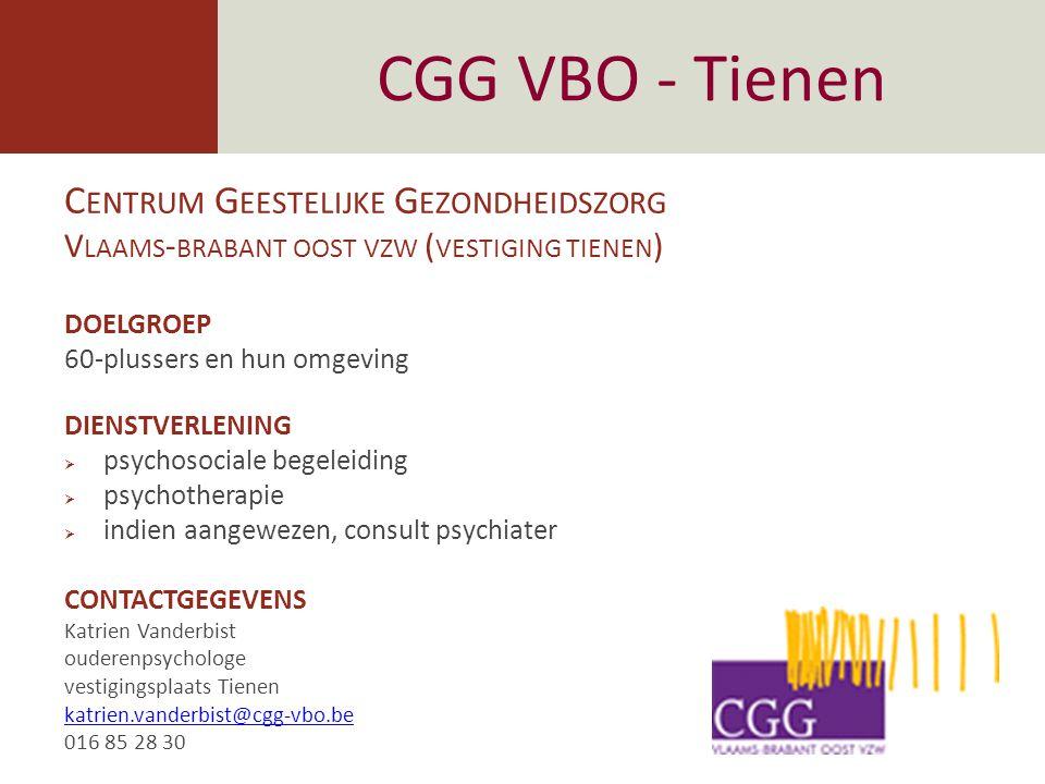 CGG VBO - Tienen Centrum Geestelijke Gezondheidszorg