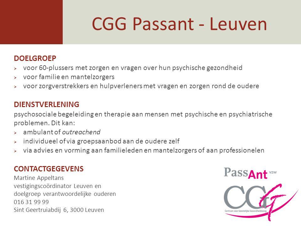 CGG Passant - Leuven DOELGROEP DIENSTVERLENING CONTACTGEGEVENS