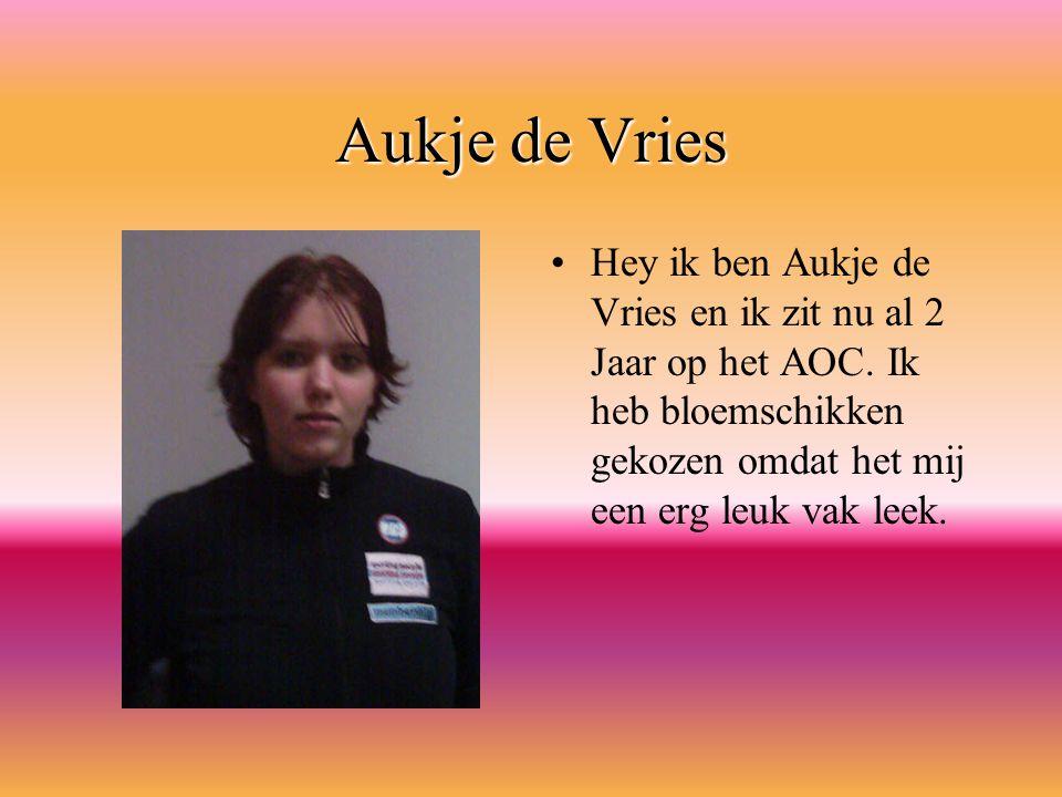 Aukje de Vries Hey ik ben Aukje de Vries en ik zit nu al 2 Jaar op het AOC.