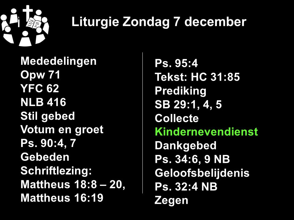 Liturgie Zondag 7 december