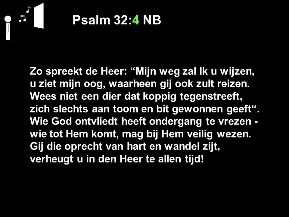 Psalm 32:4 NB Zo spreekt de Heer: Mijn weg zal Ik u wijzen,