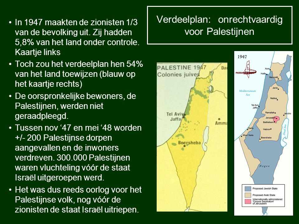 Verdeelplan: onrechtvaardig voor Palestijnen