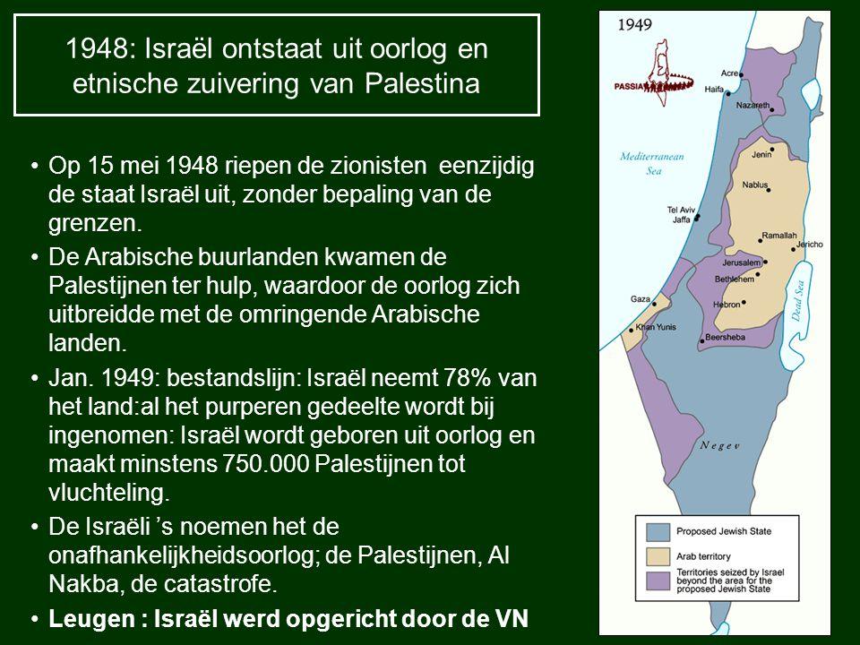 1948: Israël ontstaat uit oorlog en etnische zuivering van Palestina