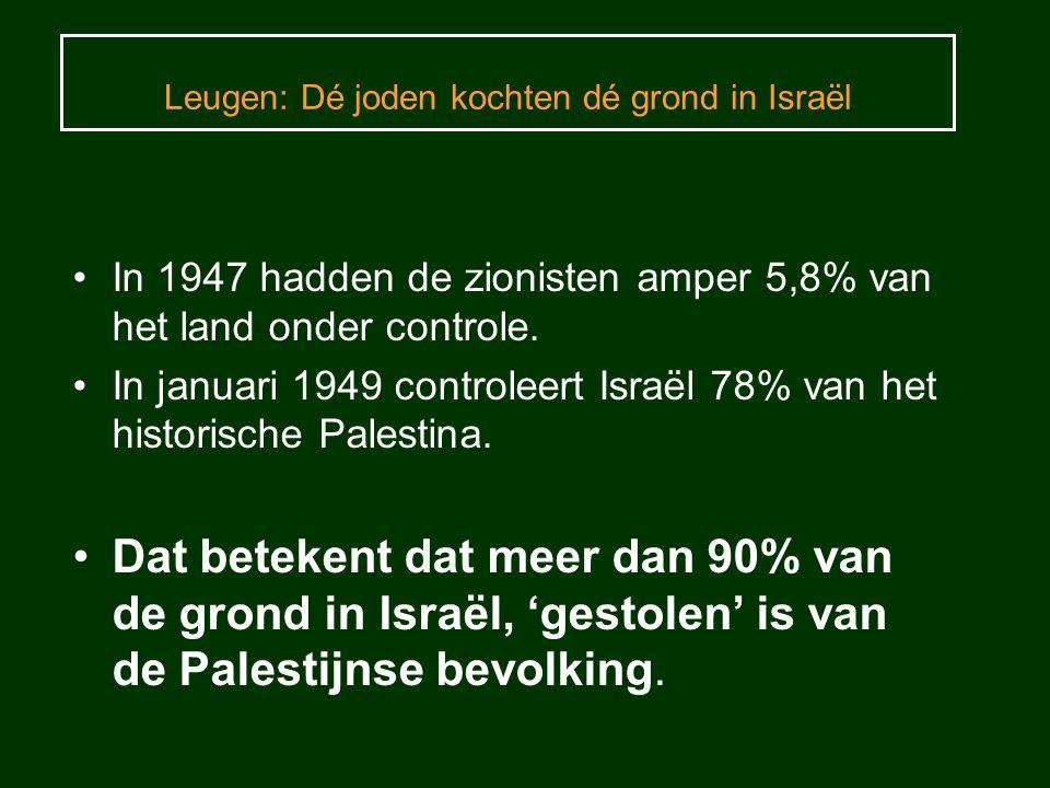 Leugen: Dé joden kochten dé grond in Israël