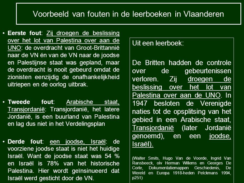 Voorbeeld van fouten in de leerboeken in Vlaanderen