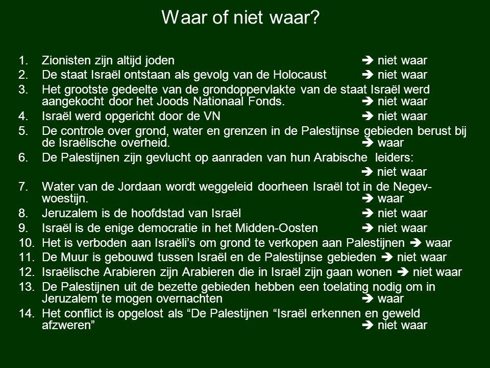 Waar of niet waar Zionisten zijn altijd joden  niet waar