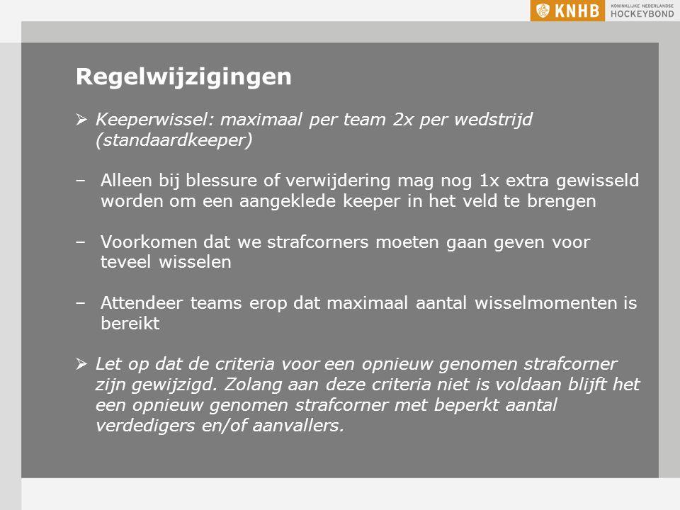 8-4-2017 Regelwijzigingen. Keeperwissel: maximaal per team 2x per wedstrijd (standaardkeeper)