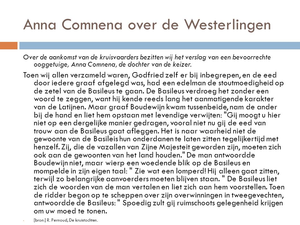Anna Comnena over de Westerlingen