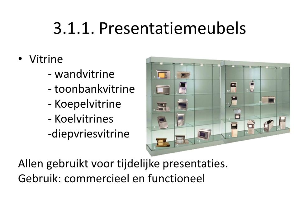 3.1.1. Presentatiemeubels Vitrine - wandvitrine - toonbankvitrine