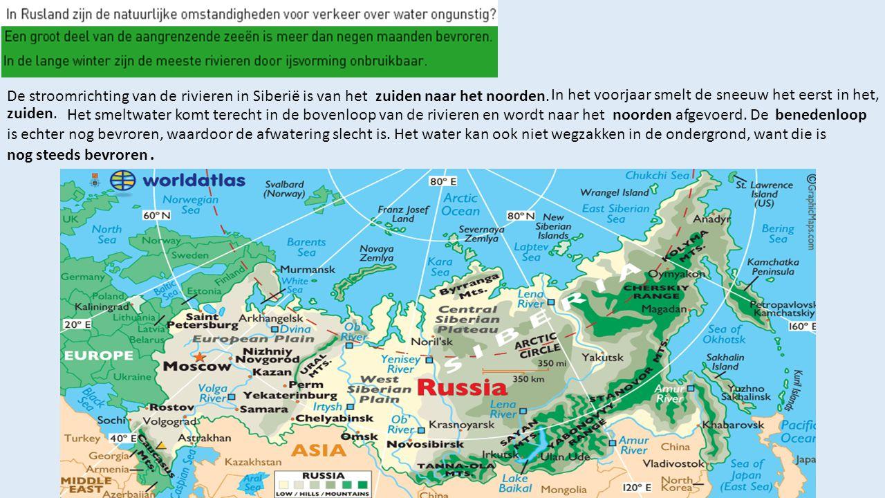 De stroomrichting van de rivieren in Siberië is van het