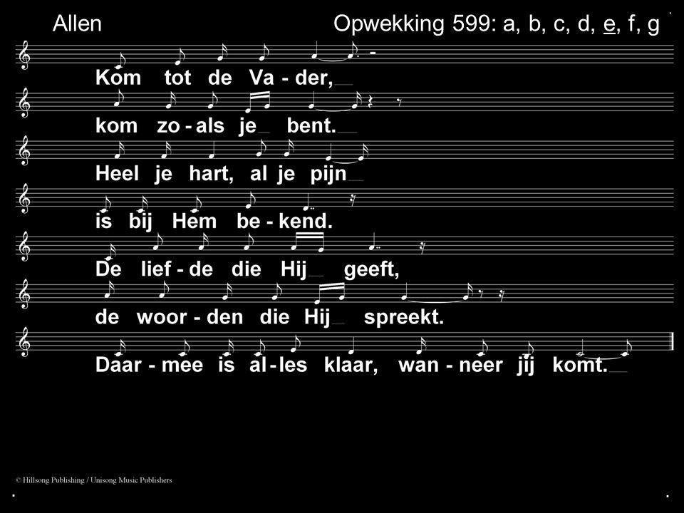 . Allen Opwekking 599: a, b, c, d, e, f, g . .
