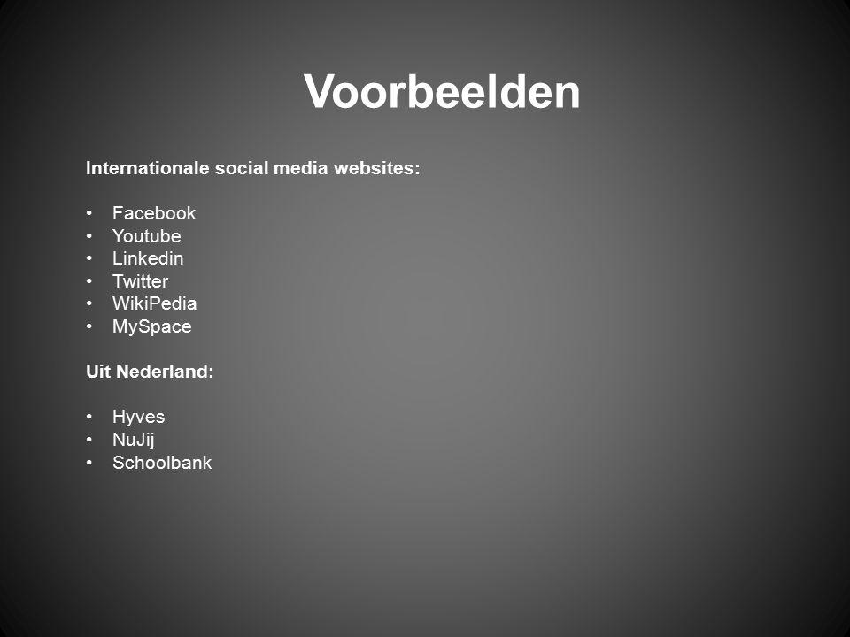 Voorbeelden Internationale social media websites: Facebook Youtube