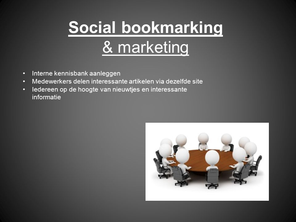 Social bookmarking & marketing Interne kennisbank aanleggen