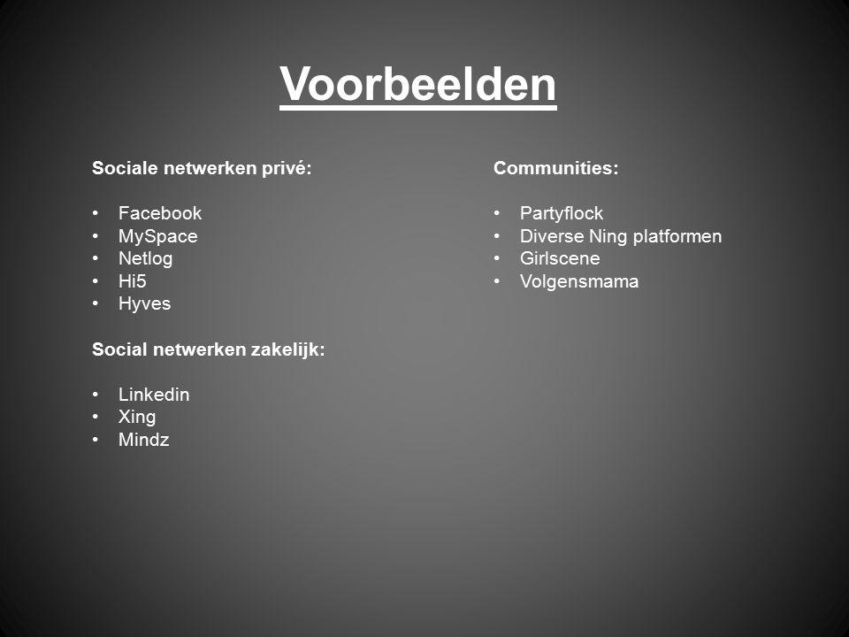 Voorbeelden Sociale netwerken privé: Facebook MySpace Netlog Hi5 Hyves