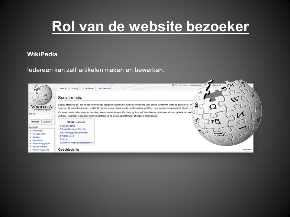 Rol van de website bezoeker