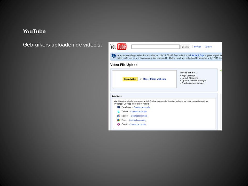YouTube Gebruikers uploaden de video s: