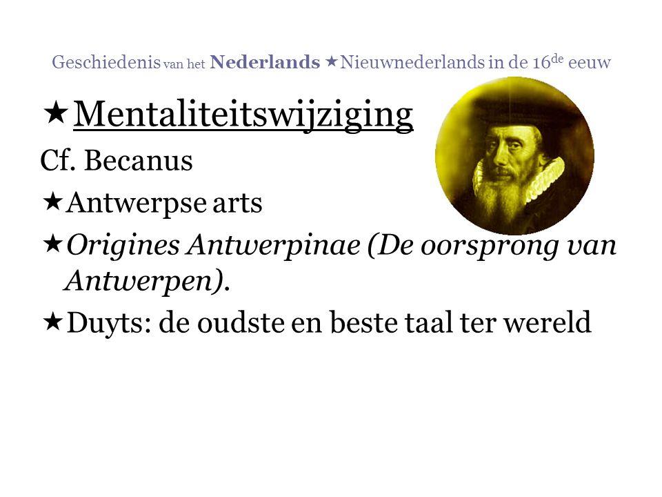 Geschiedenis van het Nederlands Nieuwnederlands in de 16de eeuw