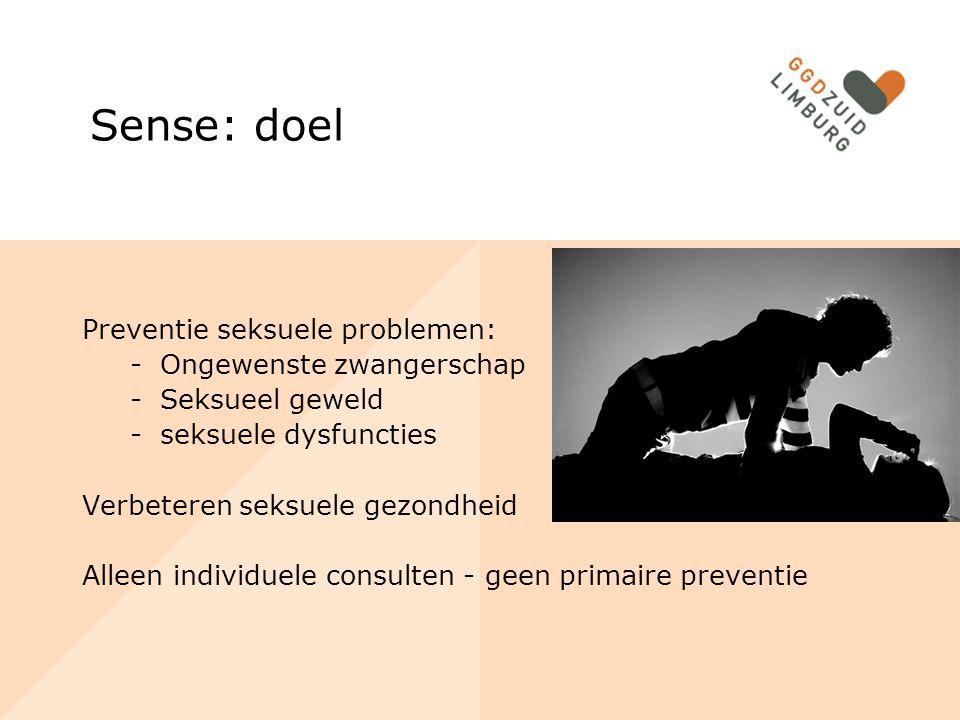 Sense: doel Preventie seksuele problemen: Ongewenste zwangerschap