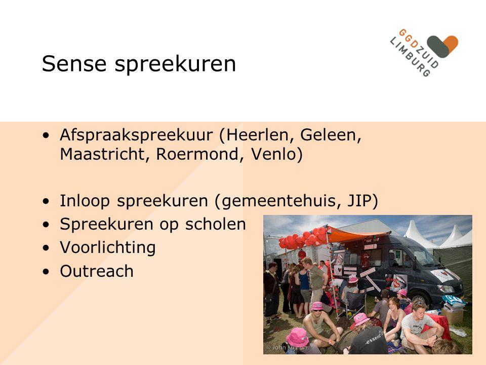 Sense spreekuren Afspraakspreekuur (Heerlen, Geleen, Maastricht, Roermond, Venlo) Inloop spreekuren (gemeentehuis, JIP)
