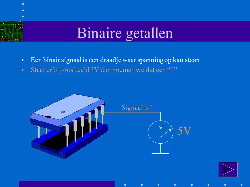 Binaire getallen Een binair signaal is een draadje waar spanning op kan staan. Staat er bijvoorbeeld 5V dan noemen we dat een 1