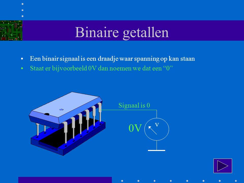 Binaire getallen Een binair signaal is een draadje waar spanning op kan staan. Staat er bijvoorbeeld 0V dan noemen we dat een 0