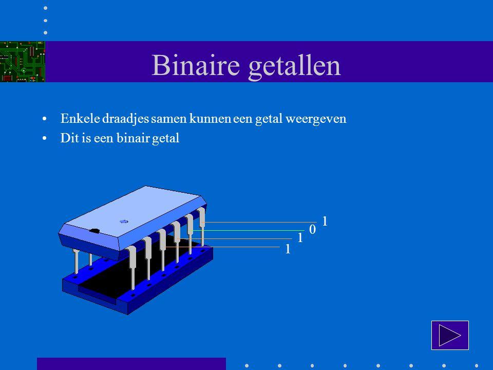 Binaire getallen Enkele draadjes samen kunnen een getal weergeven