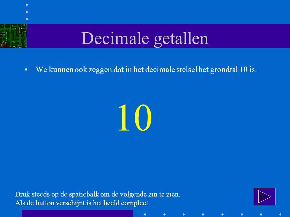 Decimale getallen We kunnen ook zeggen dat in het decimale stelsel het grondtal 10 is. 10. Druk steeds op de spatiebalk om de volgende zin te zien.